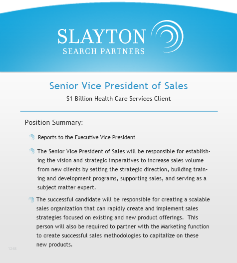 Senior Vice President of Sales