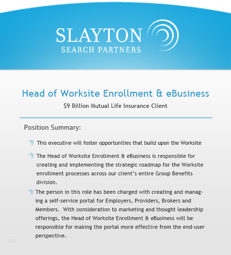 Head of Worksite Enrollment and eBusiness