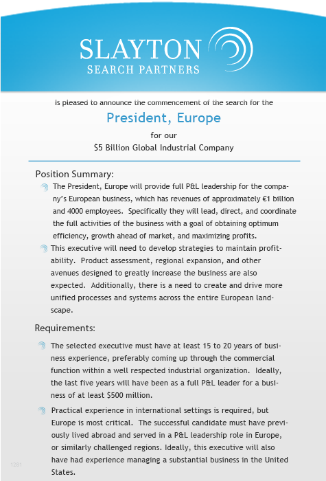 President, Europe