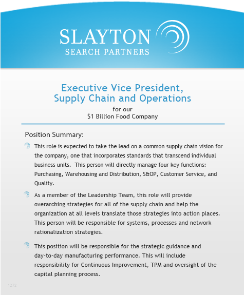 Executive Vice President, Supply Chain and Operations