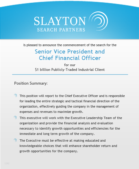 Senior Vice President and Chief Financial Officer, Finance