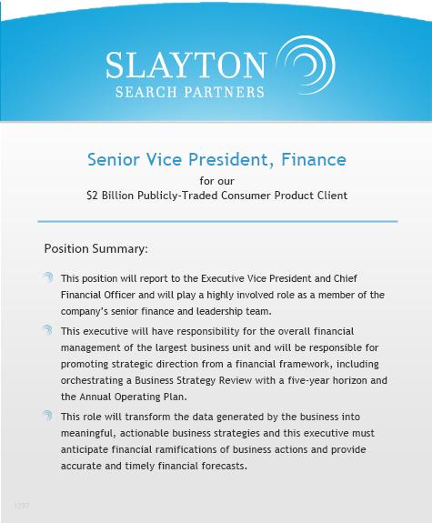 Senior Vice President, Finance
