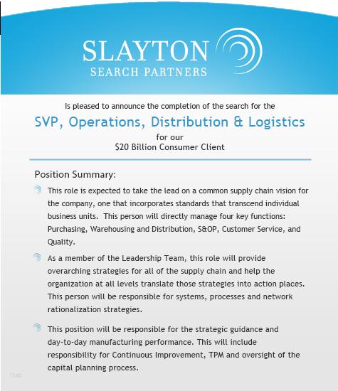 SVP, Operations, Distribution & Logistics