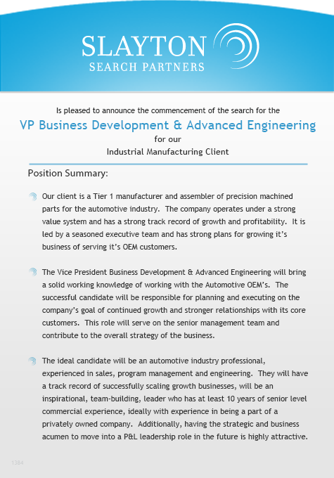 VP Business Development and Advanced Engineering