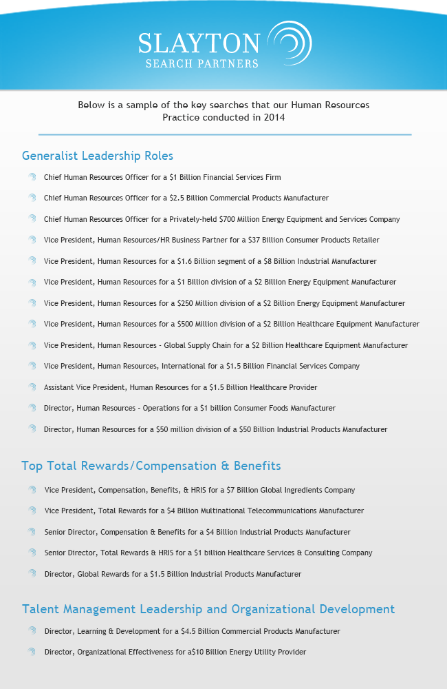 Human Resource Practice Search Engagements