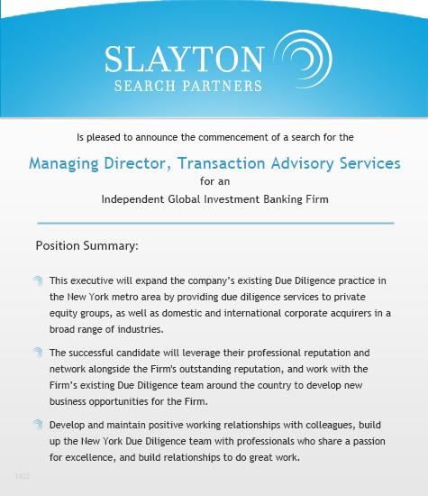 Director Transaction Advisory Services