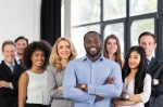 African American Businessman, Boss With Group Of Business People
